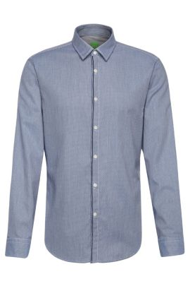 'Brizzi' | Slim Fit, Patterned Cotton Button Down Shirt, Dark Blue