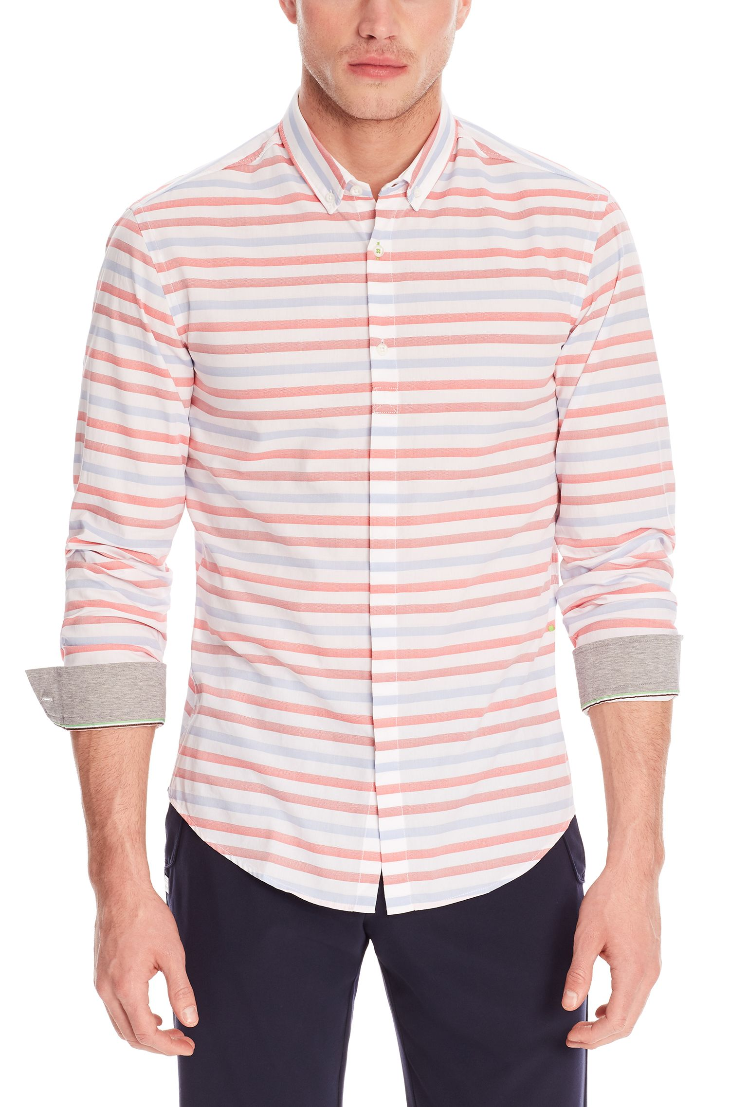 Cotton Sport Shirt, Slim Fit | Belfiore, Open Red