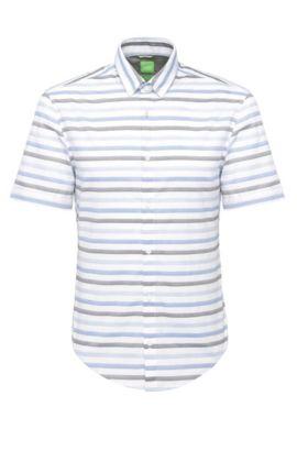 'Beltrame'   Slim Fit, Cotton Button Down Shirt, Dark Blue