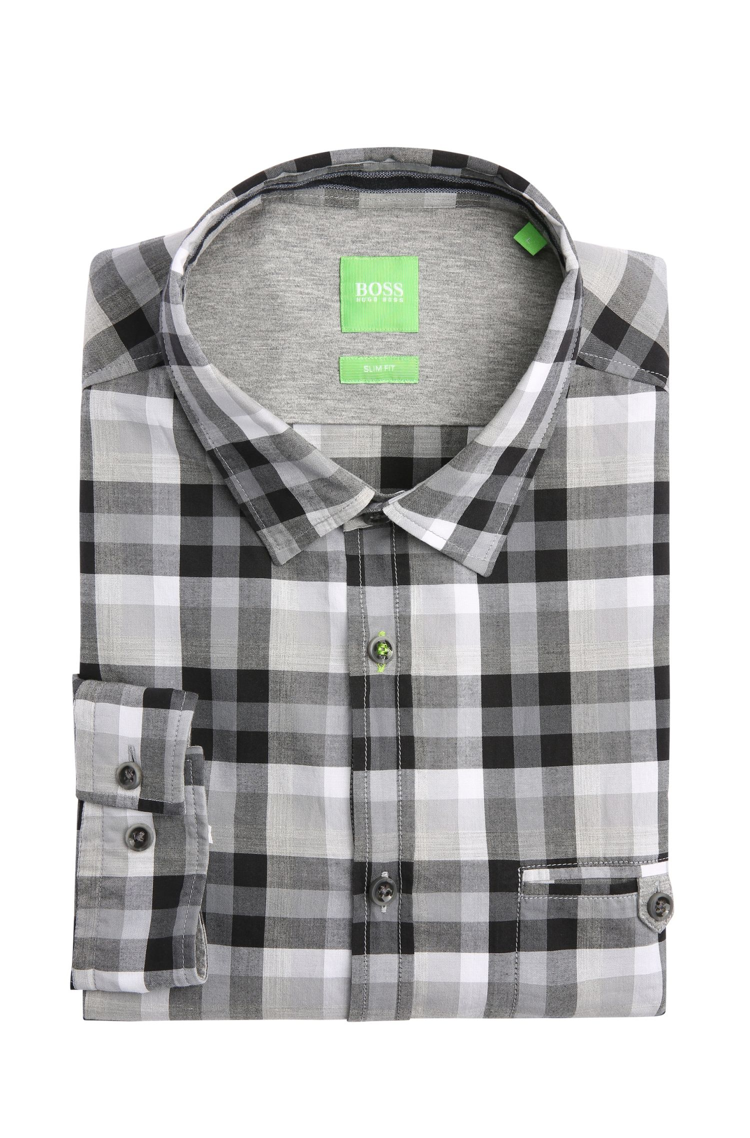 Cotton Button Down Shirt, Slim Fit | Blumas, Grey