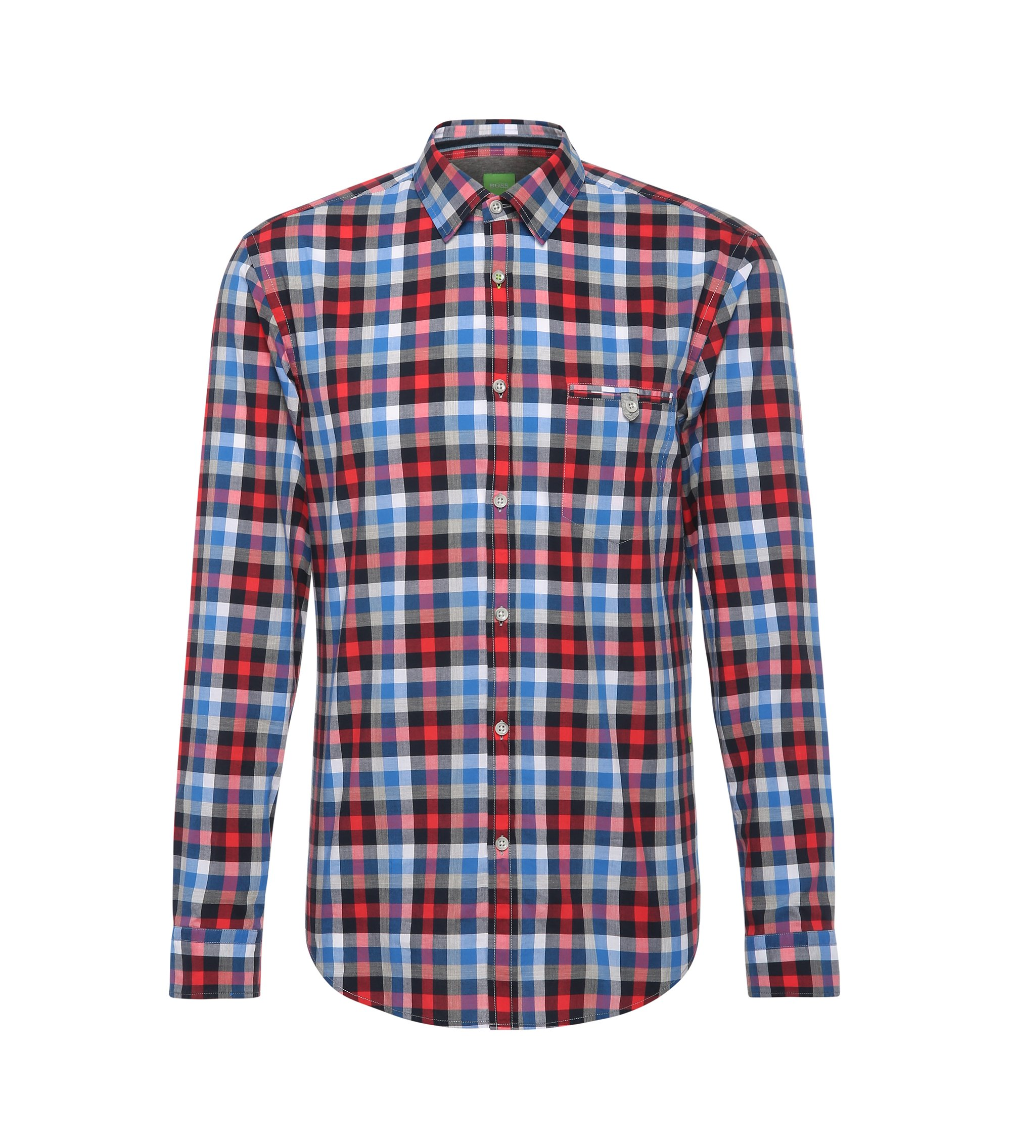 Cotton Button Down Shirt, Slim Fit | Blumas, Open Red