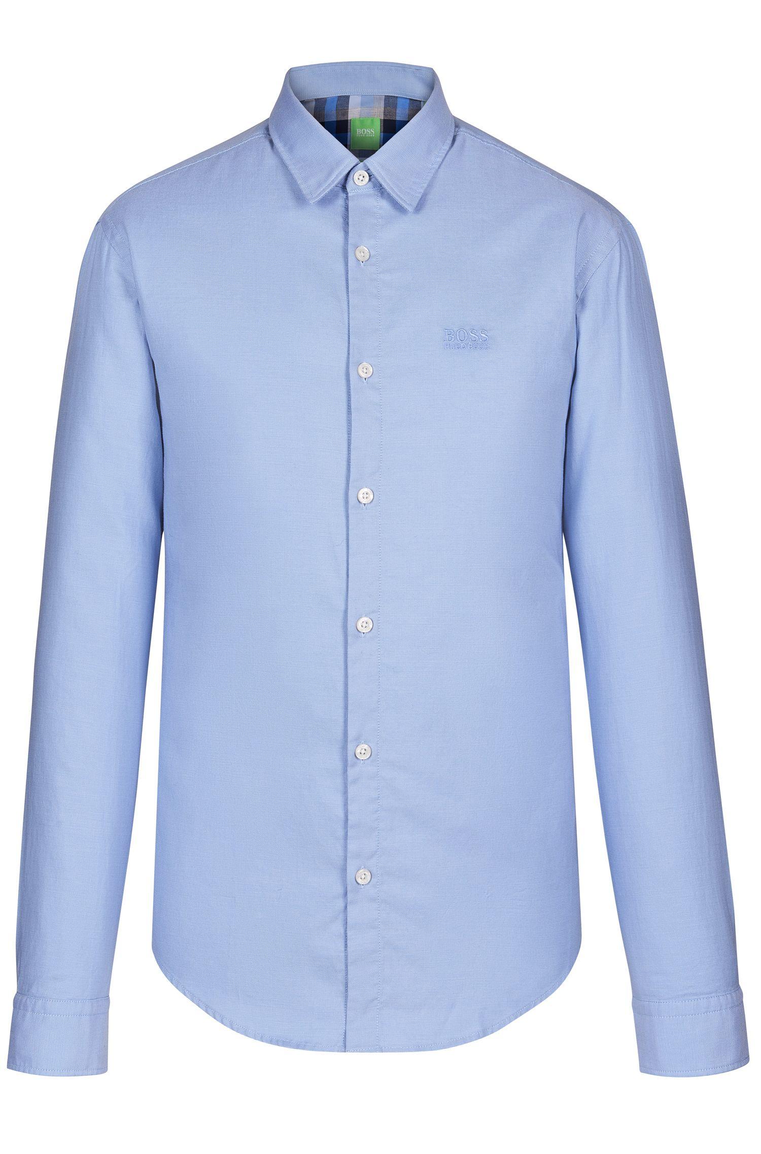'C-Buster' | Regular Fit, Cotton Textured Button Down Shirt