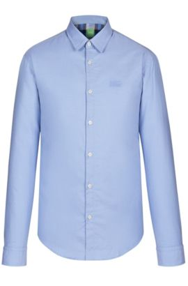 'C-Buster' | Regular Fit, Cotton Textured Button Down Shirt, Open Blue