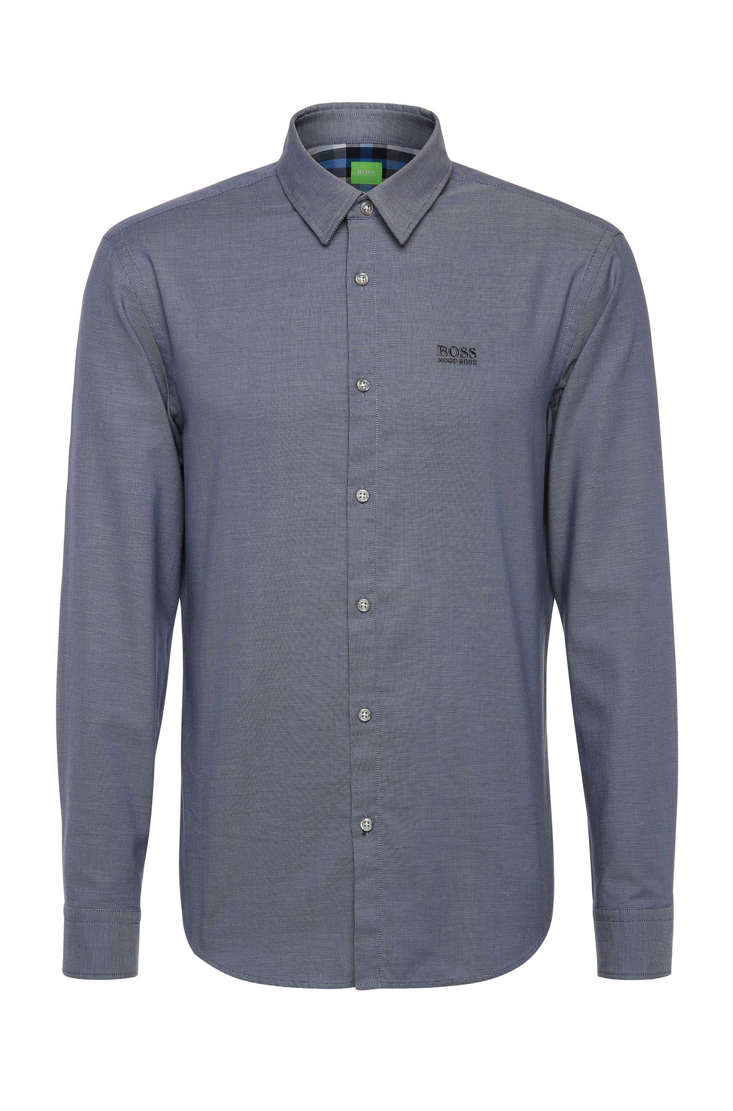 'C-Buster'   Regular Fit, Cotton Textured Button Down Shirt