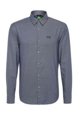 'C-Buster' | Regular Fit, Cotton Textured Button Down Shirt, Open Blue