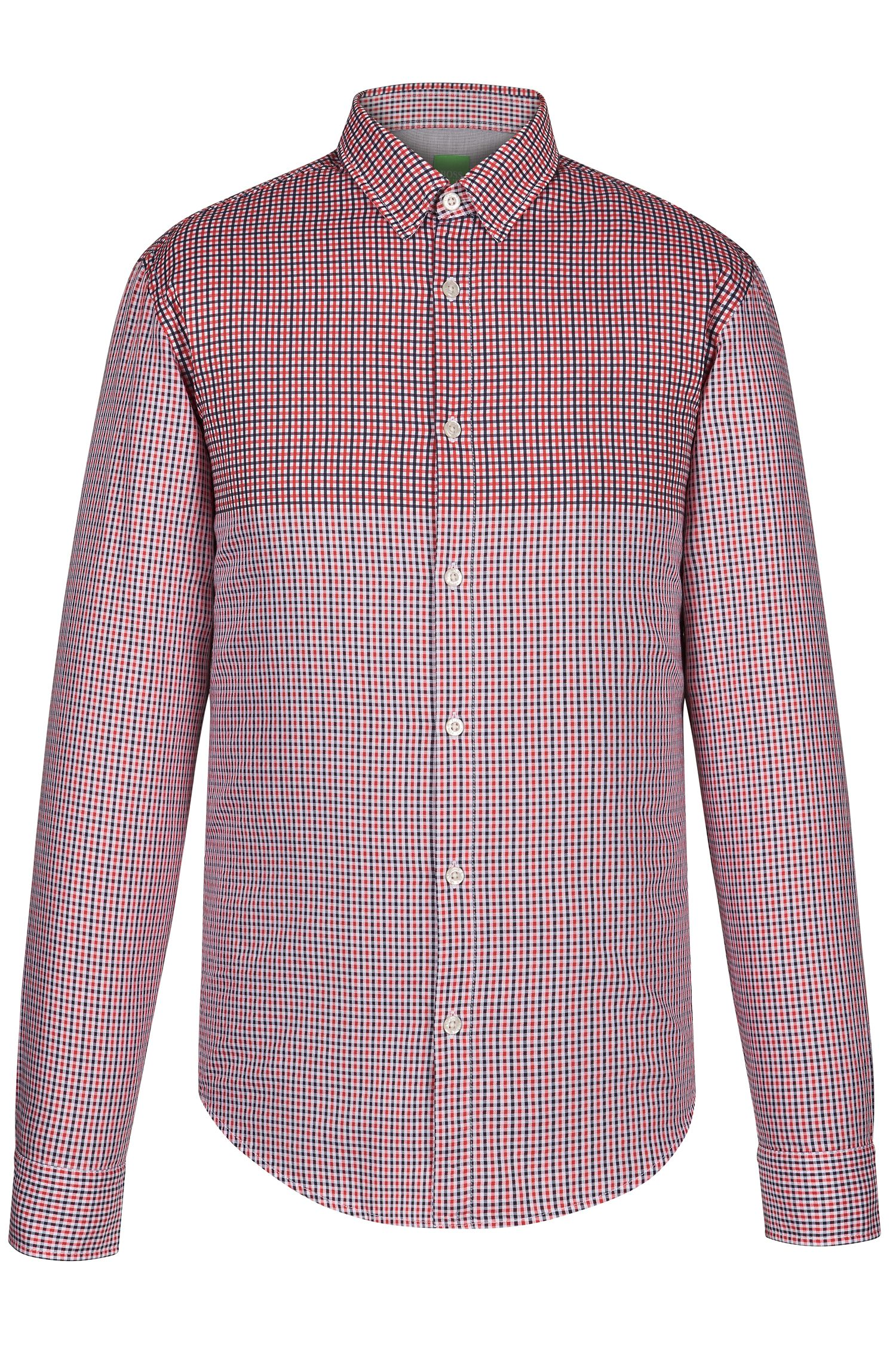 Checked Cotton Button Down Shirt, Regular Fit | C-Briar, Open Red