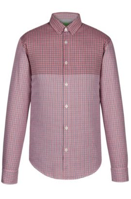 'C-Briar' | Regular Fit, Checked Cotton Button Down Shirt, Open Red