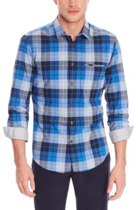 'C-Bansi' | Regular Fit, Cotton Dot Button Down Shirt, Dark Blue