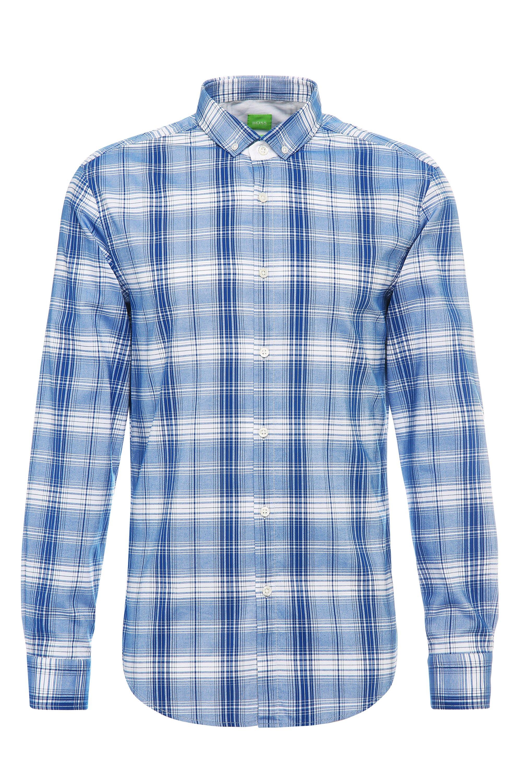 Plaid Cotton Button Down Shirt, Slim Fit | C-Bilia, Open Blue