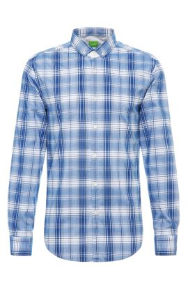 'C-Bilia' | Slim Fit, Plaid Cotton Button Down Shirt, Open Blue