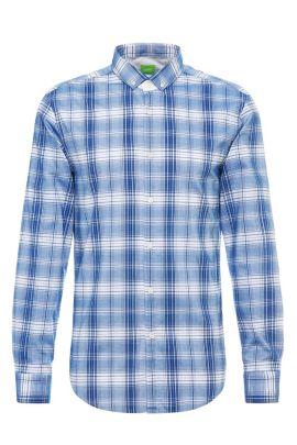 'C-Bilia' | Slim Fit, Plaid Cotton Button Down Shirt, Open Blue
