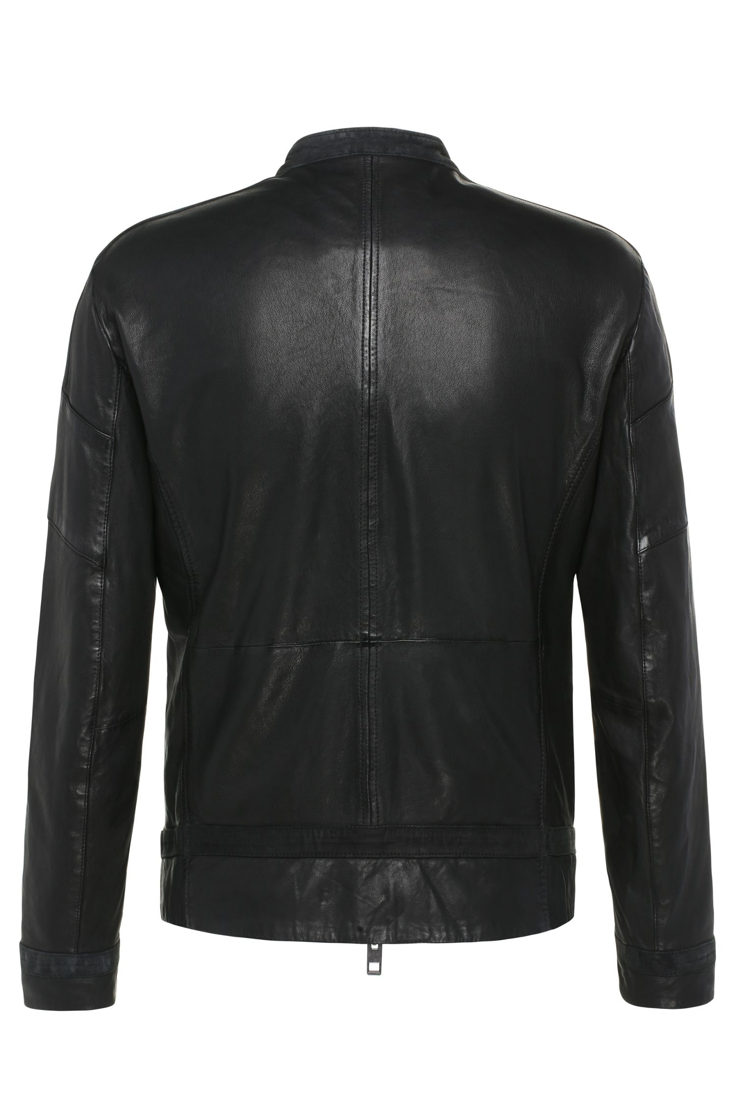 Sheepskin Paneled Biker Jacket | Jondro, Black