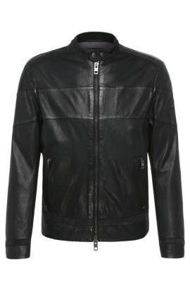 'Jondro' | Sheepskin Paneled Biker Jacket, Black