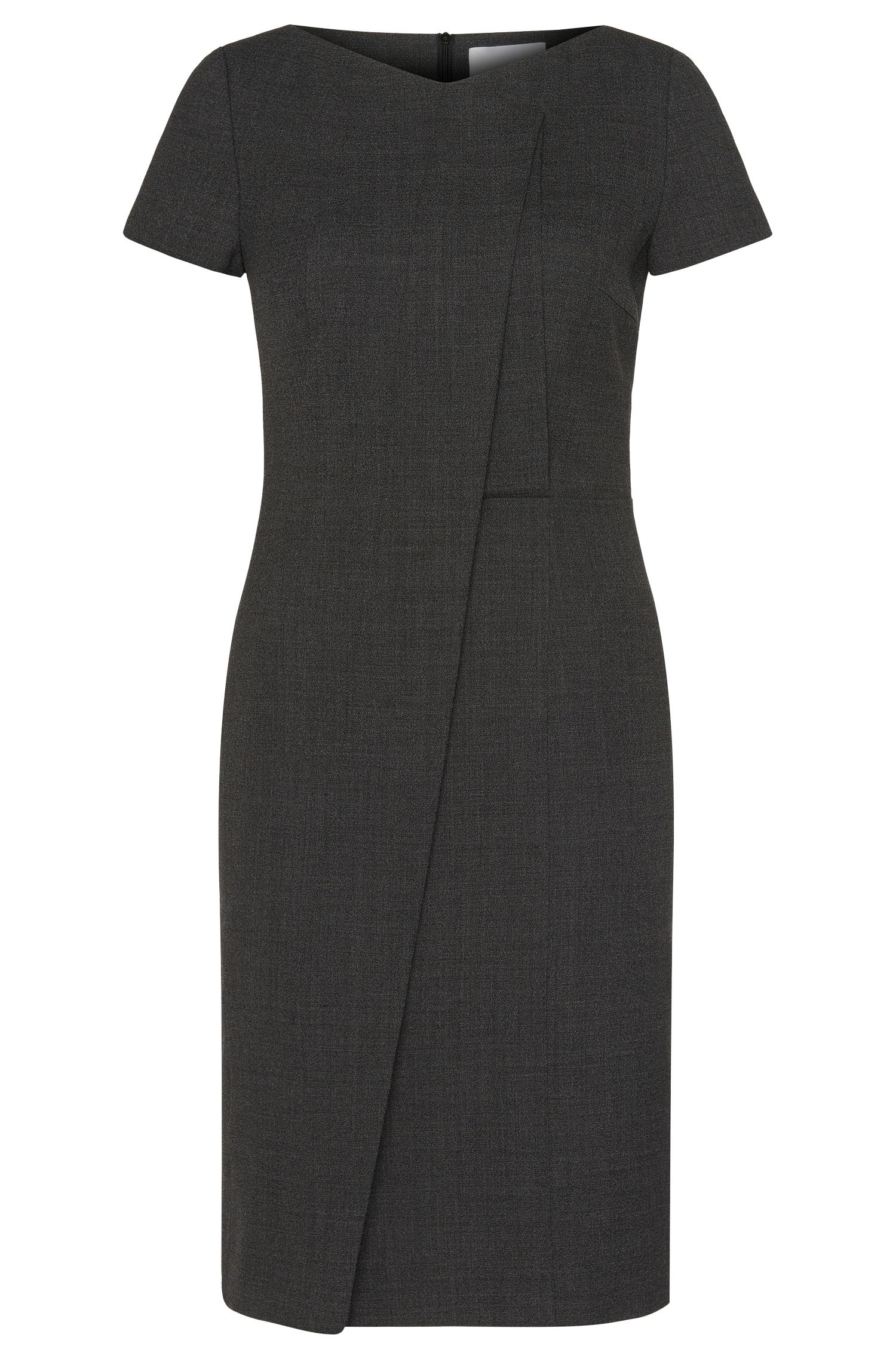 'Dadela' | Stretch Virgin Wool Asymmetrical Sheath Dress