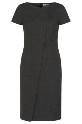 'Dadela' | Stretch Virgin Wool Asymmetrical Sheath Dress, Patterned