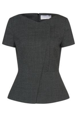 'Iadela' | Virgin Wool Blend Asymmetric Top , Patterned