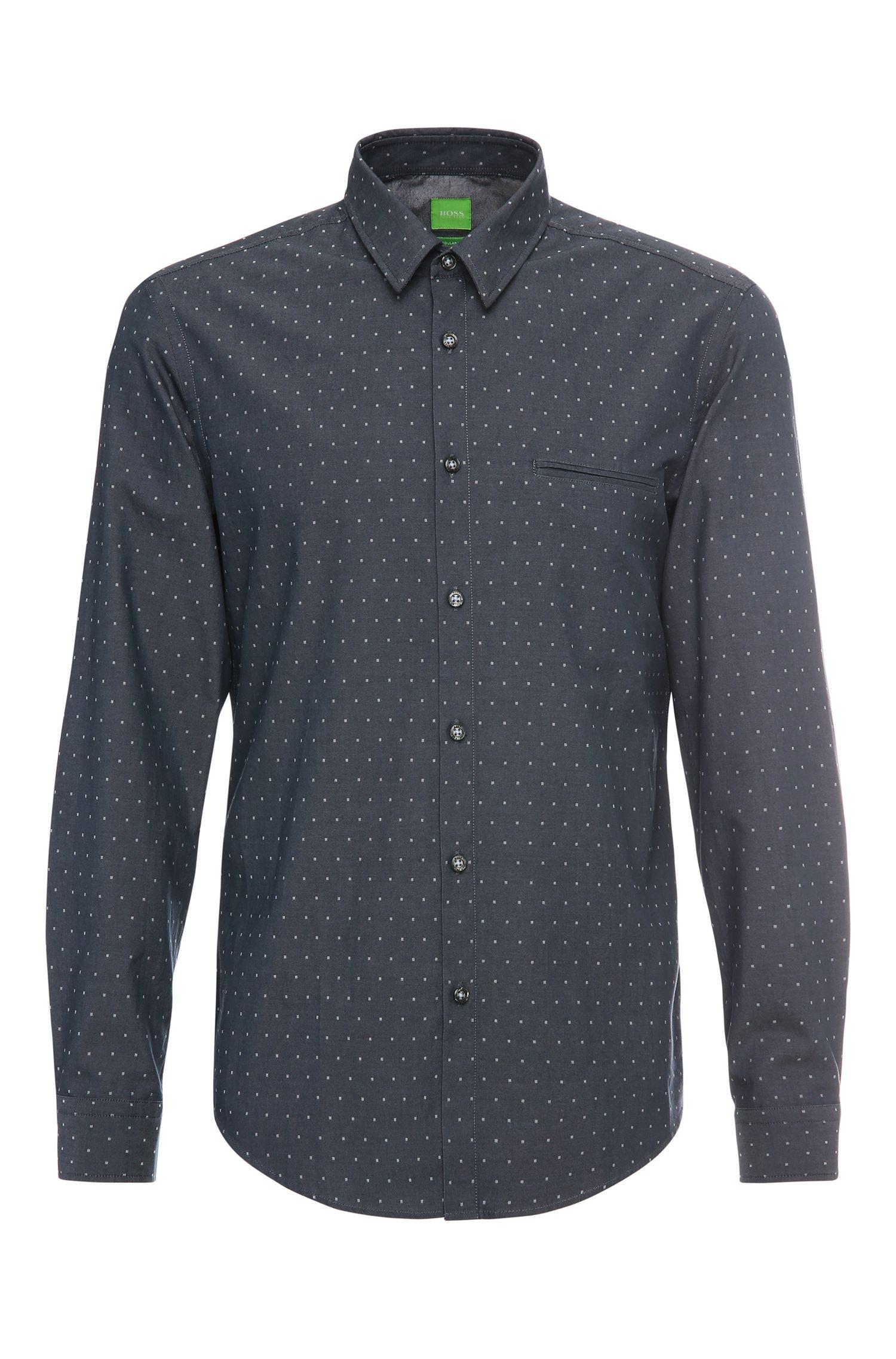 'C-Bacchis' | Regular Fit, Cotton Dot Button Down Shirt