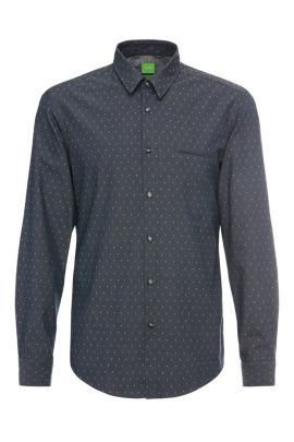 'C-Bacchis' | Regular Fit, Cotton Dot Button Down Shirt, Dark Blue