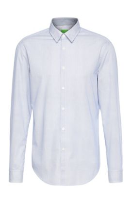'C-Bustai' | Modern Fit, Cotton Button Down Shirt, Open Blue