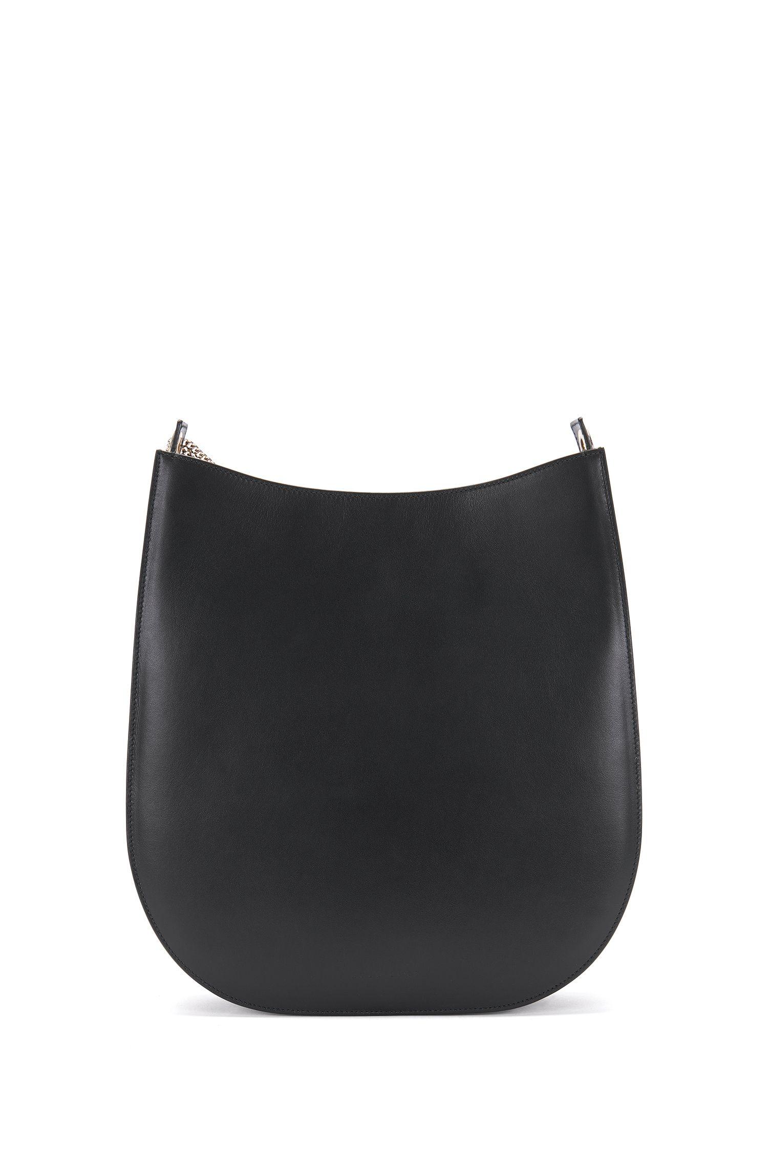 'BOSS Bespoke H S' | Italian Leather Hobo Bag, Detachable Chain Strap