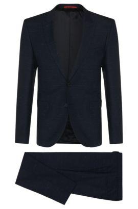 Super 110 Virgin Wool Suit, Extra-Slim Fit| Astor/Hends, Dark Blue