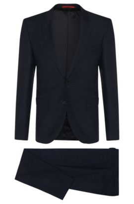 Super 110 Virgin Wool Suit, Extra-Slim Fit | Astor/Hends, Dark Blue