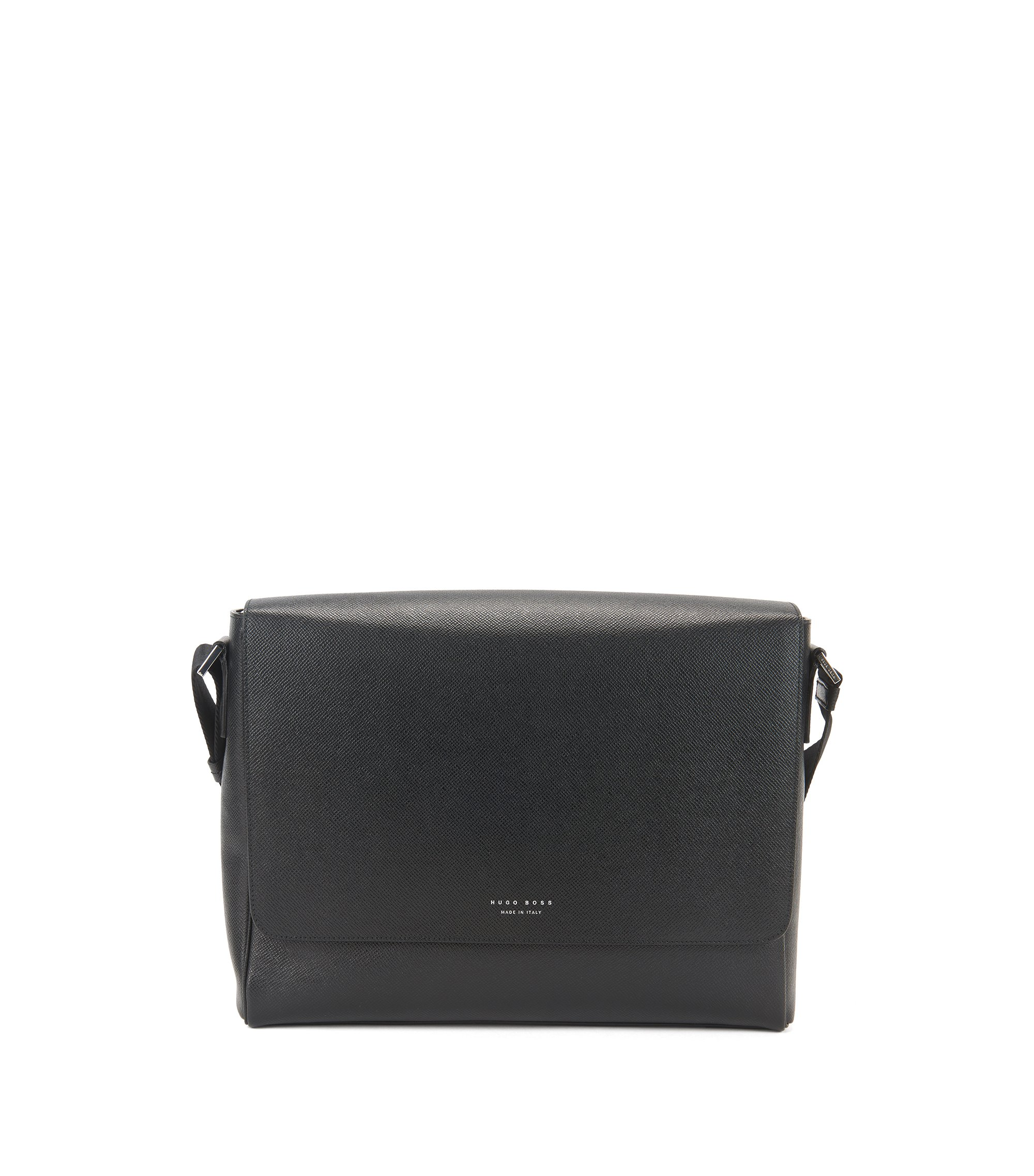 Leather Messenger Bag | Signature Mess Flap, Black