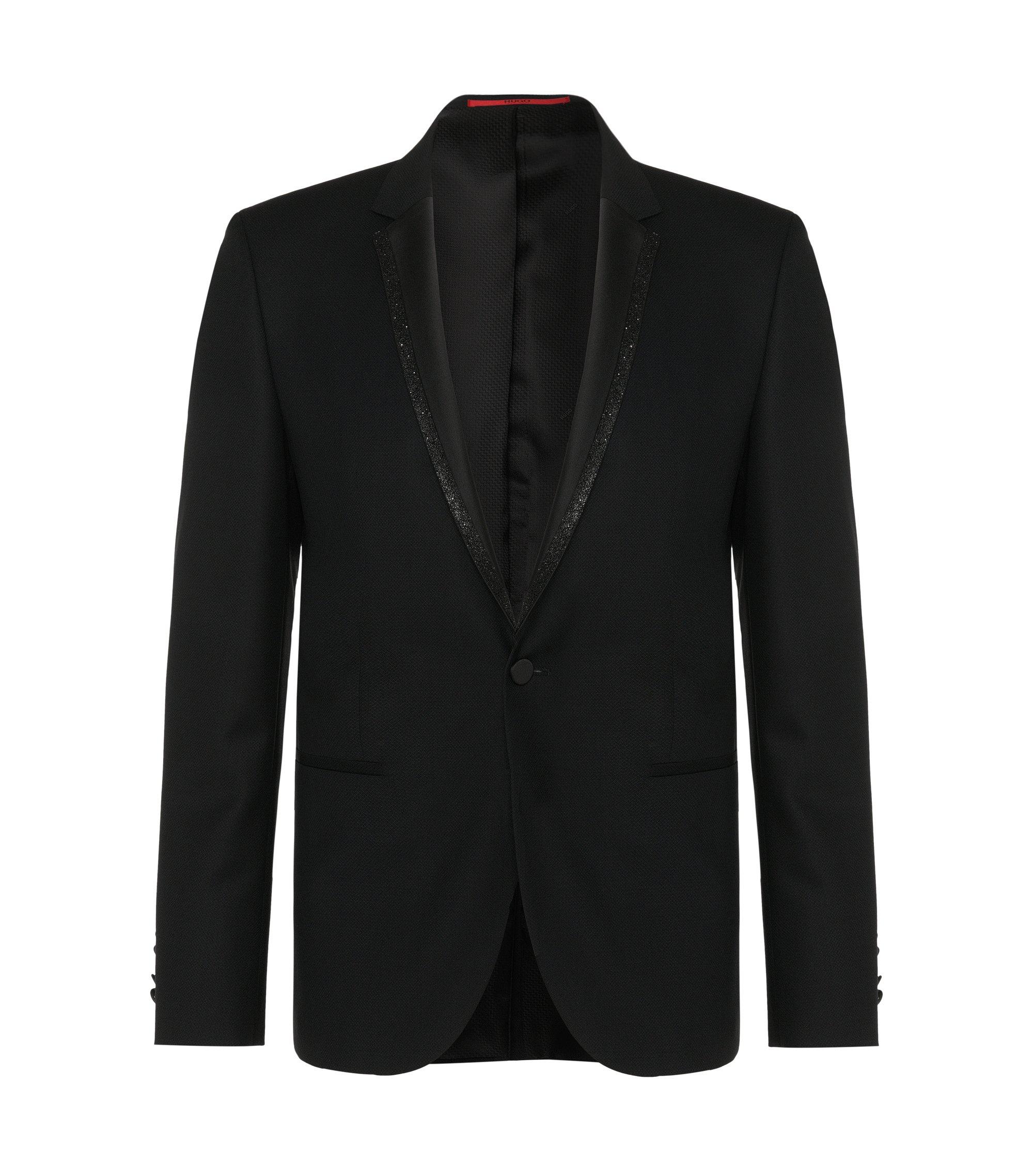 Virgin Wool Glitter Lapel Sport Coat, Extra Slim Fit | Adrison , Black
