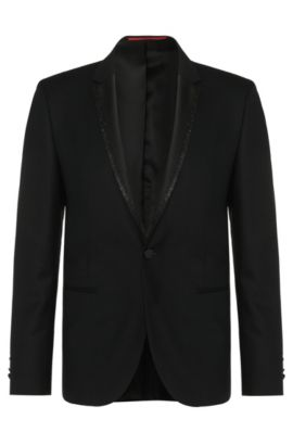 Virgin Wool Glitter Lapel Sport Coat, Extra Slim Fit | Adrison , Black