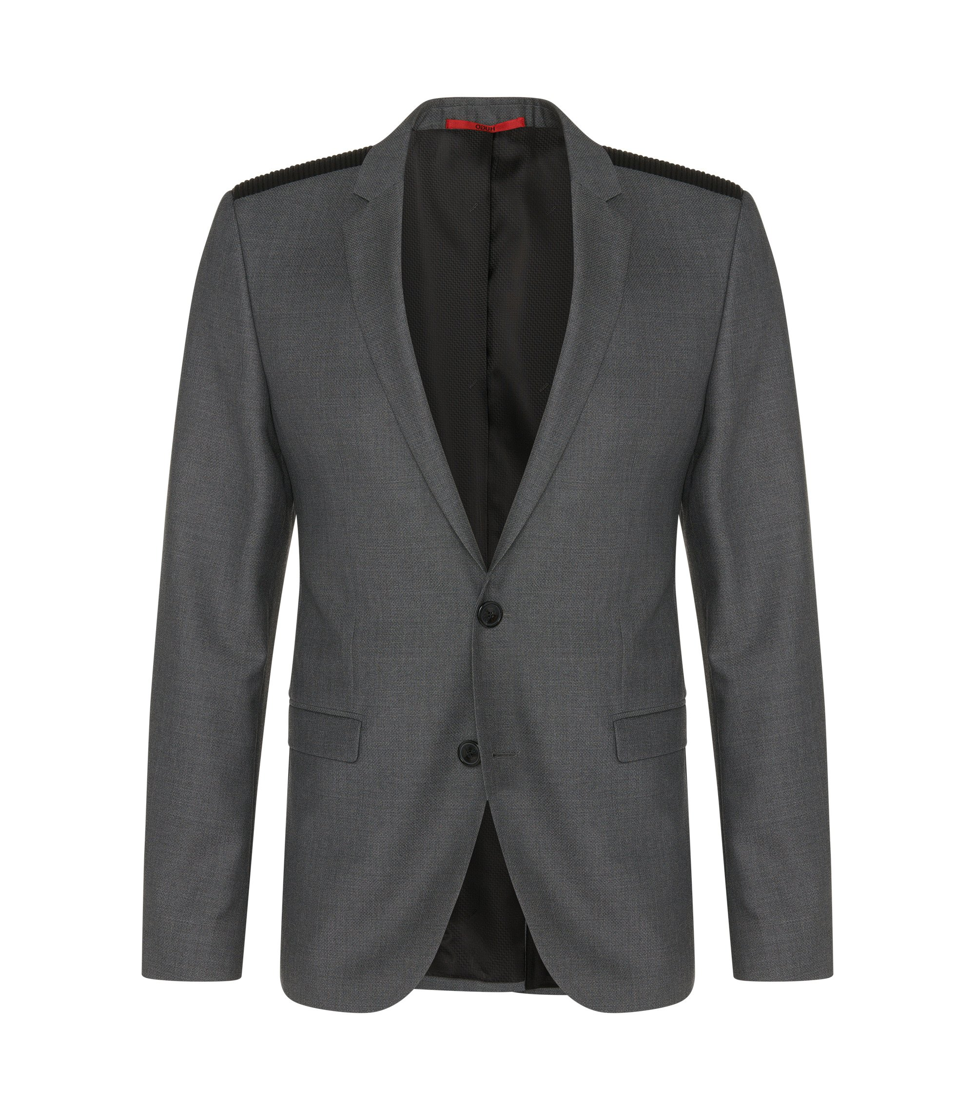 Virgin Wool Vegan-Leather Shoulder Sport Coat, Extra Slim Fit | Andson , Grey