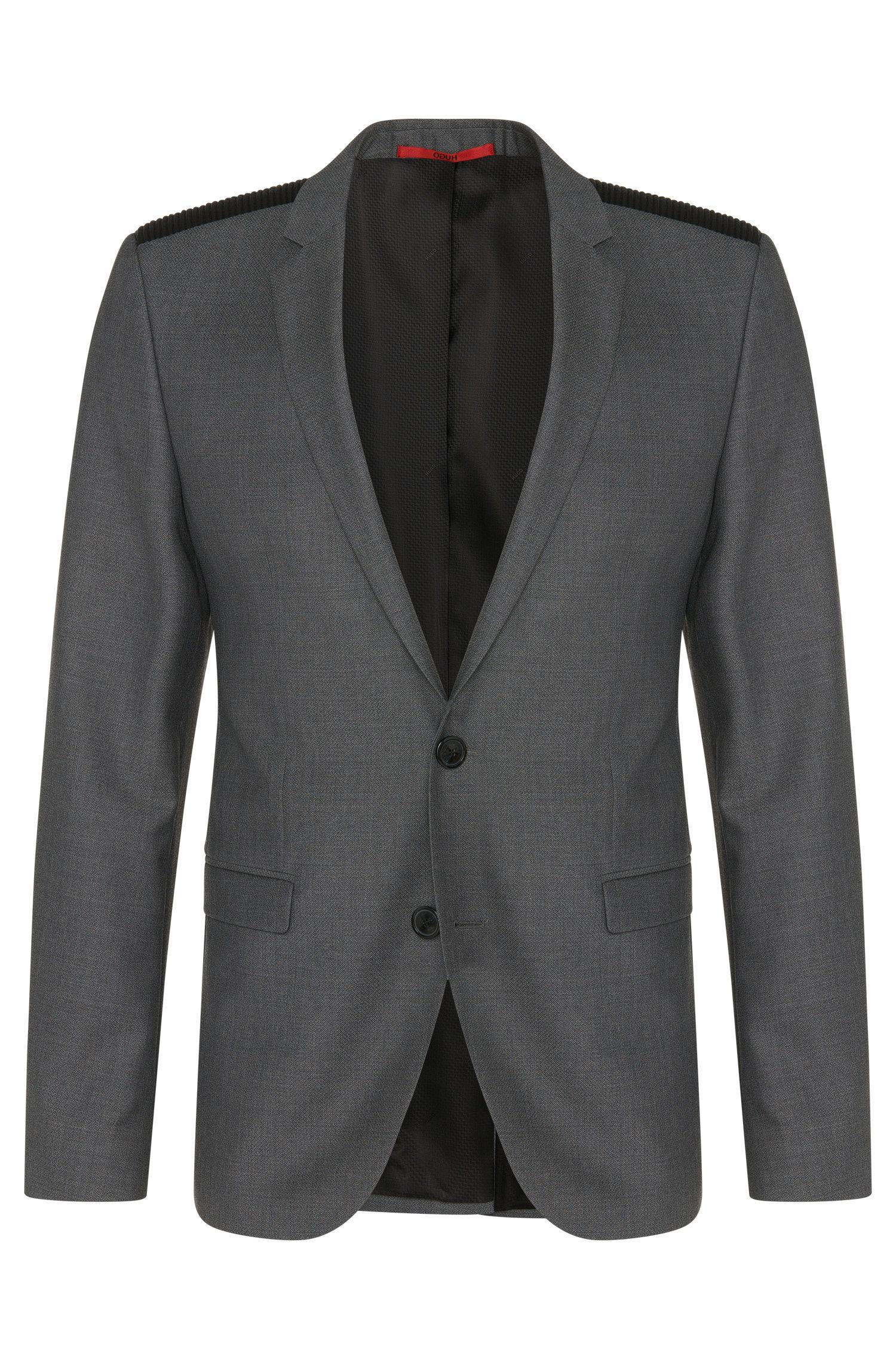 Virgin Wool Vegan-Leather Shoulder Sport Coat, Extra Slim Fit | Andson