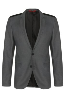 'Andson' | Extra Slim Fit, Virgin Wool Vegan-Leather Shoulder Sport Coat, Grey