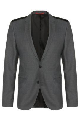 'Andson' | Extra Slim Fit, Virgin Wool Vegan-Leather Shoulder Sport Coat, Grey