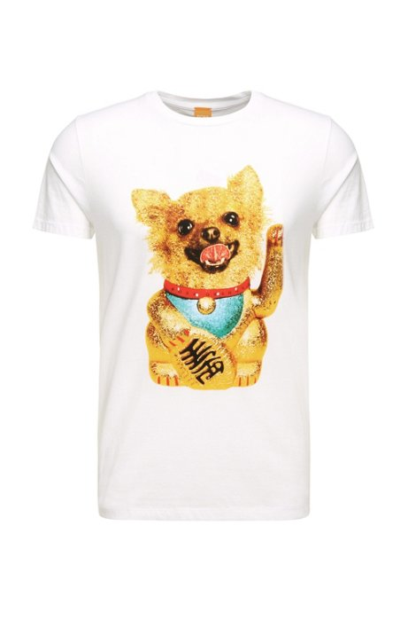 ebc24bcd05 'Talan' | Cotton Dog Print T-Shirt, White. '
