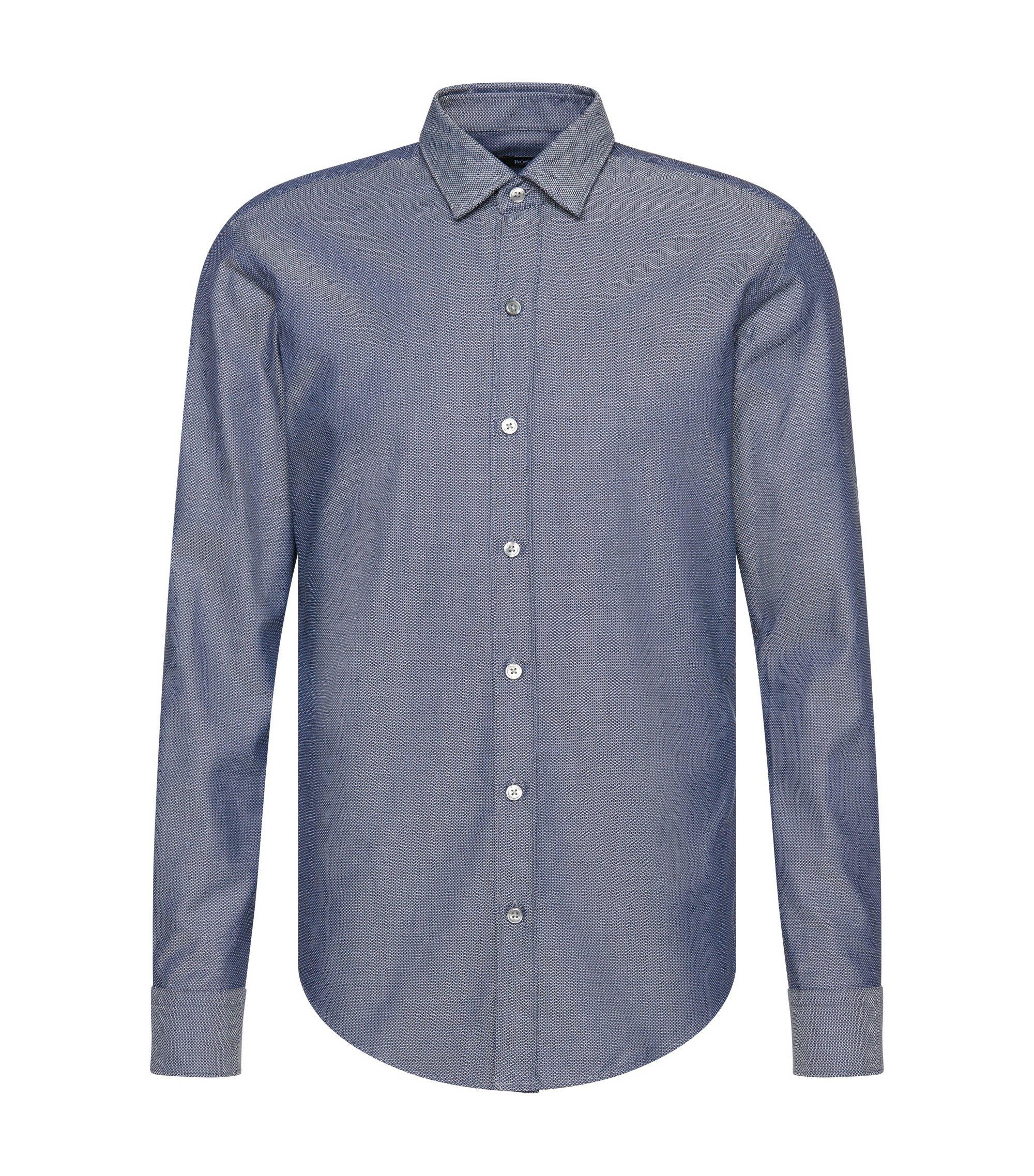 'Robbie'   Slim Fit, Cotton Button Down Shirt, Dark Blue