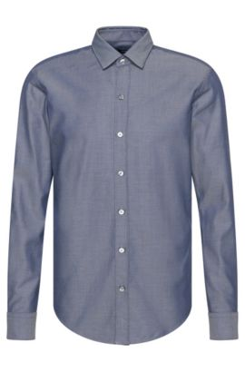 'Robbie' | Slim Fit, Cotton Button Down Shirt, Dark Blue