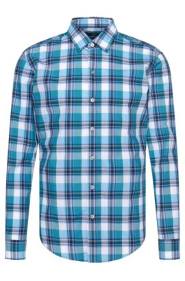 'Robbie' | Slim Fit, Cotton Button Down Shirt, Light Blue