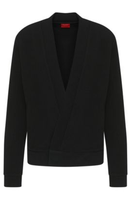 'Dimperial' | Stretch Viscose Ribbed Surplice Cardigan, Black