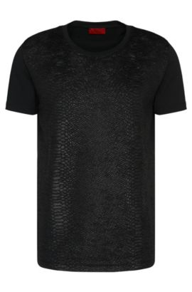 'Desert' | Cotton Snakeskin Textured T-Shirt, Black