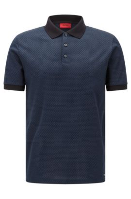 Cotton Jacquard Polo Shirt, Regular Fit | Devron , Dark Blue