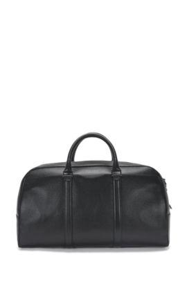 'Signature S Hold'   Calfskin Weekender Bag, Detachable Shoulder Strap, Black