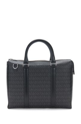 'Signature H S Doc' | Italian Calfskin Printed Embossed Workbag, Detachable Shoulder Strap, Patterned
