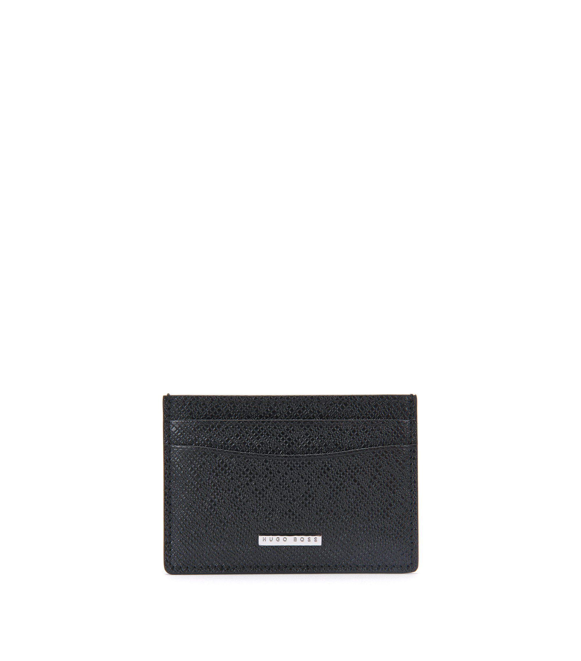 'Signature CC Window' | Calfskin Card Case with ID Window, Black