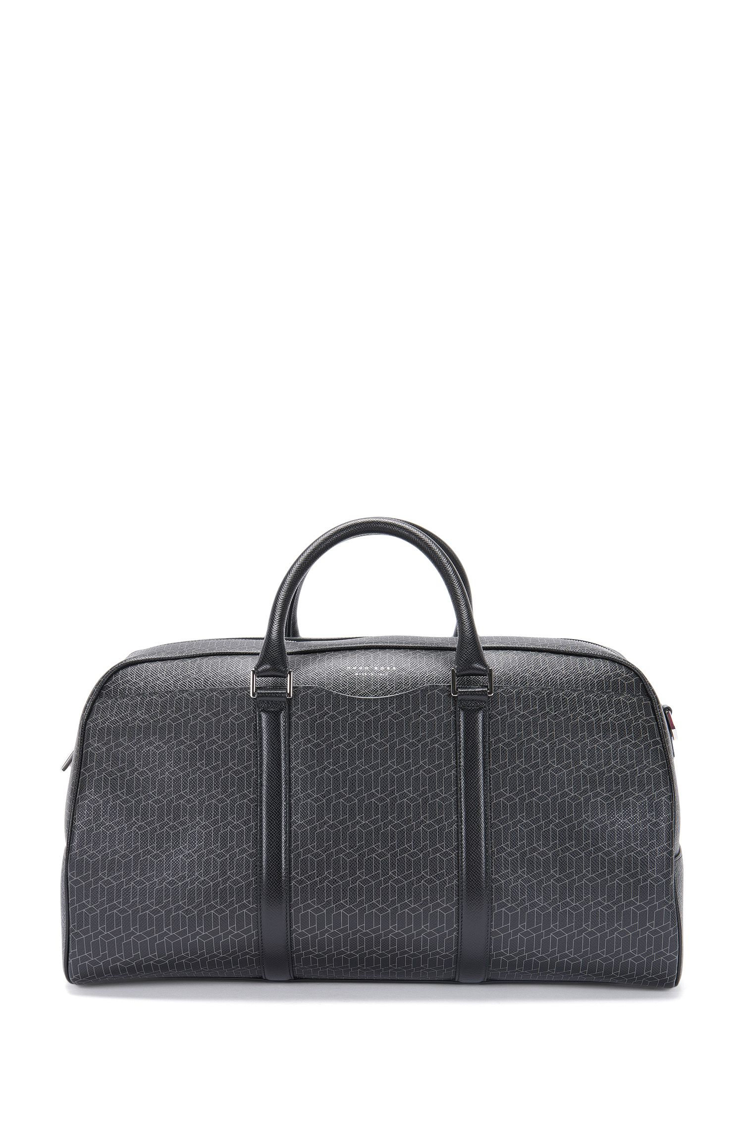 'Signature H Holdall' | Italian Calfskin Printed Embossed Weekender Bag, Detachable Shoulder Strap
