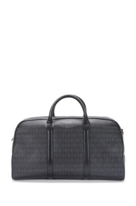 'Signature H Holdall' | Italian Calfskin Printed Embossed Weekender Bag, Detachable Shoulder Strap, Patterned