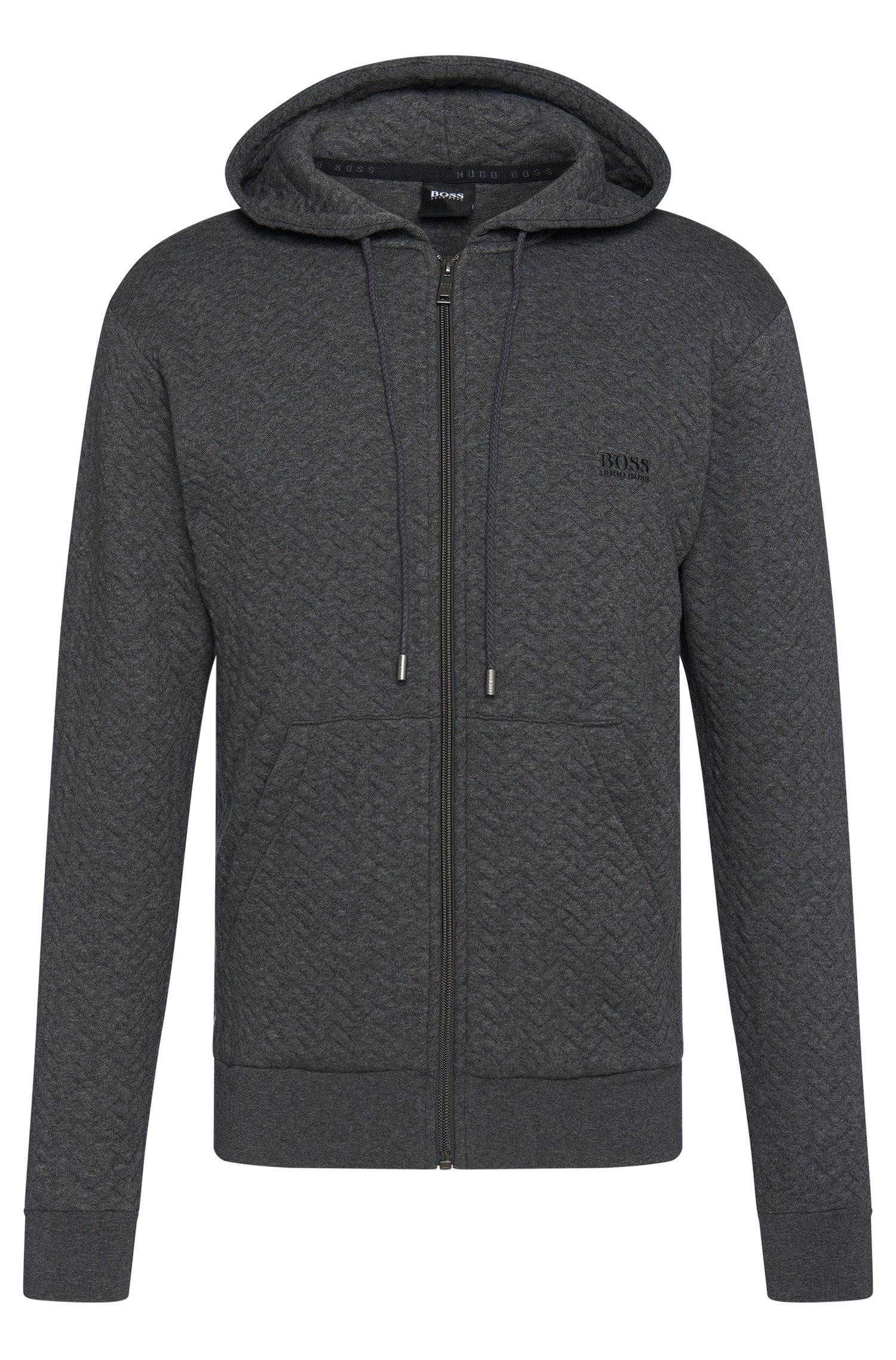 'Jacket Hooded' | Cotton Quilted Herringbone Hooded Sweatshirt