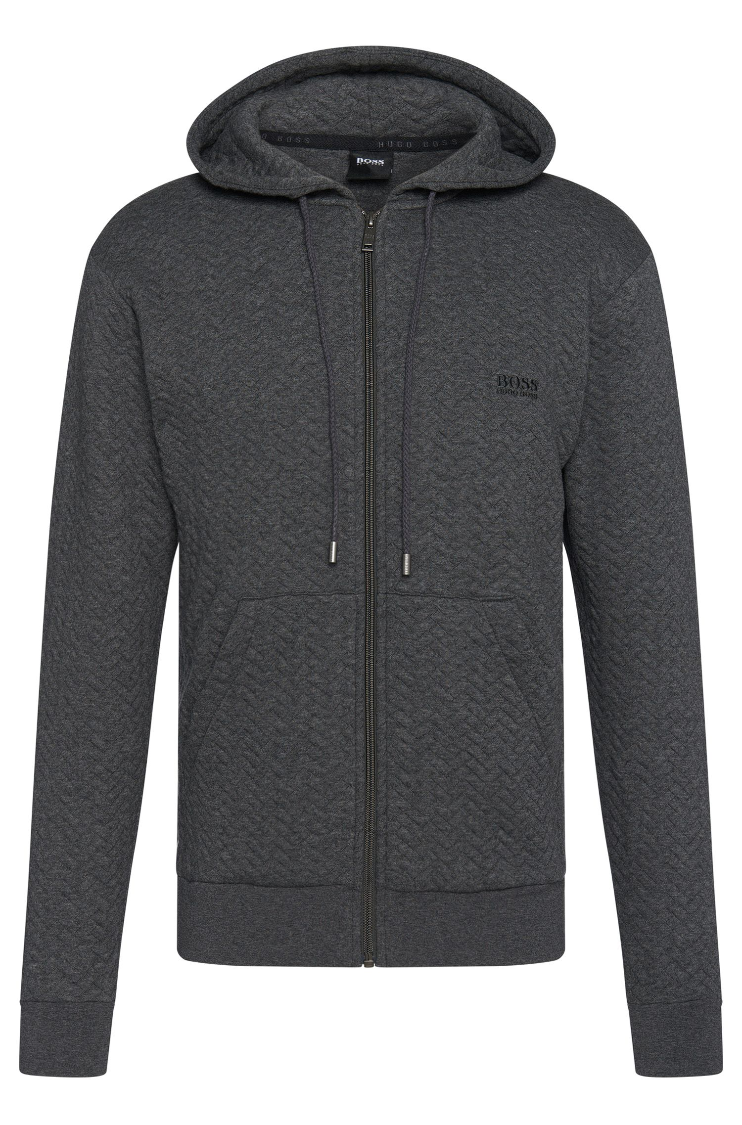 Cotton Herringbone-Quilted Hooded Sweatshirt | Jacket Hooded