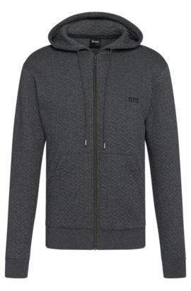 'Jacket Hooded' | Cotton Quilted Herringbone Hooded Sweatshirt, Grey