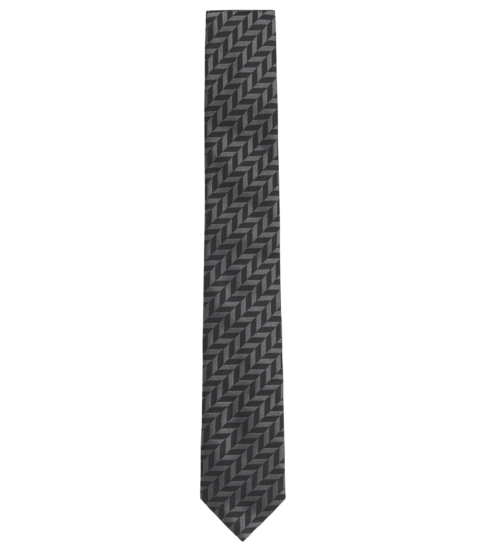 Herringbone Italian Silk Slim Tie, Black