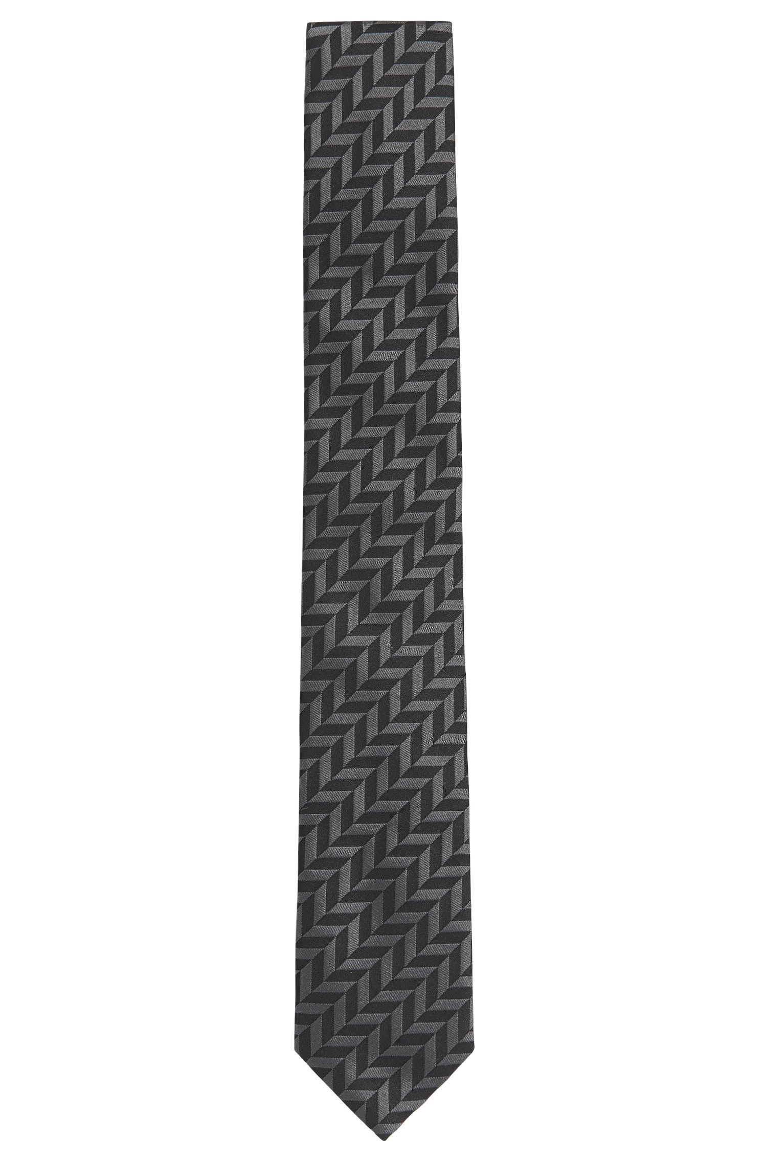 Herringbone Italian Silk Slim Tie, Black